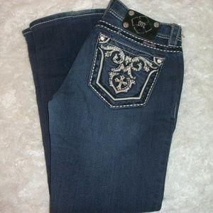 Miss Me Jeans Size 28X27 Hemmed  Missing Grommet
